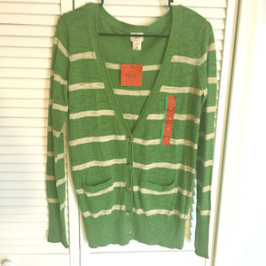 NWT Merona Green & Tan Striped Cardigan Sweater M